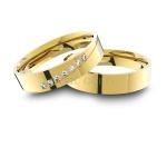Alianças em Ouro 18K amarelo Anatômicas com Diamantes (4.50 mm de largura)