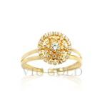 Anel de aro duplo em ouro 18k amarelo com Diamante sintético