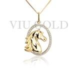 Pingente de Cavalo em ouro 18k amarelo com 35 Diamante Sintético