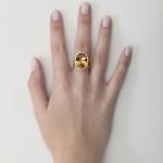 Anel em ouro 18K amarelo com Citrino oval