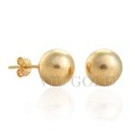 Brinco de Bola polida de 10 mm em ouro 18k amarelo