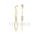 Brinco argolas penduradas em ouro 18k amarelo e branco com Diamantes