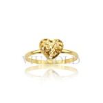 Anel em ouro 18k amarelo com coração todo trabalhado