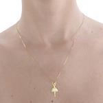 Gargantilha Bailarina com corrente em ouro 18k amarelo com Diamantes