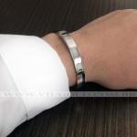 Pulseira masculina design Italiano de Aço com placa e detalhe Black / Rose