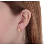 Brinco argola de trava em ouro 18k amarelo com Diamante sintético