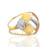Anel aro duplo com texturas em ouro 18k amarelo, branco, e rose