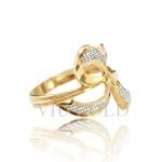 Anel de laço em ouro 18k amarelo, e branco