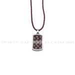 Cordão design italiano em Couro Marrom com Pingente em Aço com couro