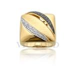 Anel quadrado em ouro 18k amarelo com Diamante branco e Diamante Negro