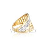Anel trabalhado em ouro 18k amarelo e branco