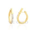 Brinco Anzol médio com Diamantes em ouro 18k amarelo e branco