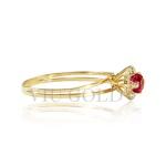 Anel aro duplo em ouro 18k amarelo com Rubi sintético e Diamante sintético