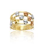 Anel aro quadruplo com detalhes redondos em ouro 18k amarelo, branco, e rose