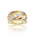 Anel aro duplo com filetes na diagonal em ouro 18k amarelo, branco, e rose