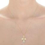 Pingente de Menina em ouro 18k amarelo, branco com Diamantes
