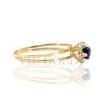 Anel aro duplo em ouro 18k amarelo com Safira azul sintética e Diamante sintético