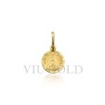 Pingente Medalha redonda de Nossa senhora Aparecida em ouro amarelo 18K