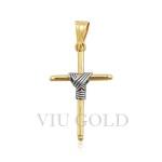 Pingente de cruz em ouro 18k amarelo com detalhe em ouro branco