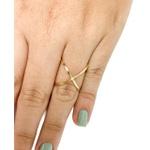 Anel modelo X com diamante sintético em ouro 18k