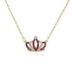 Gargantilha em ouro 18 k -Coroa na corrente bailarina com diamantes sintéticos