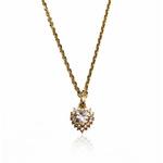 Gargantilha em ouro 18 k -Coração na corrente bailarina com diamantes sintéticos