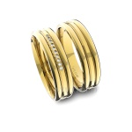 Alianças em Ouro 18K amarelo Anatômicas com Diamantes (5.00 mm de largura)