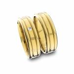 Alianças em Ouro 18K amarelo Anatômicas com Diamante (6.00 mm de largura)