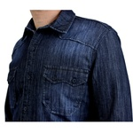 CAMISA MASCULINA SOCIAL SLIM FIT JEANS AZUL