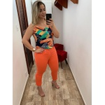 CALÇA FEMININA LOOPPER SARJA LARANJA