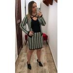 CONJUNTO FEMININO LINHA TRICOT ESTAMPA GEOMETRICA