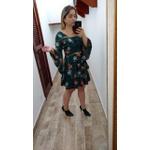 VESTIDO FEMININO CURTO RODADO FLORAL VERDE MANGA LONGA