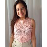 BLUSA CROPPED FEMININO RENDA ROSA