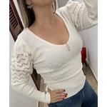 BLUSA FEMININA CROPPED MANGA LONGA BRANCO TRICOT