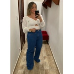 CALÇA FEMININA JEANS LOOPER WIDE LEG CINTURA ALTA