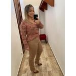 CALÇA FEMININA LOOPPER SARJA CAQUI MODELADORA
