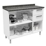 Balcão De Cozinha Multipla Com Tampo 3 Portas 2 Gavetas Branco - Cozinha Bertolini
