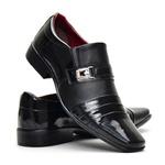 Sapato Social Bico Fino Italiano Masculino Em Couro Ecológico