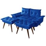 Sofá 2 Lugares em Courino Azul Marinho Bariloche Com Duas Banquetas Rubi