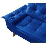 Sofá Courino Azul Marinho 3 lugares Bariloche Essencial Estofados