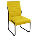 Cadeira Para Escritório ou Sala de Jantar em Couro Sintético Amarelo Pés em Aço na Cor Preta