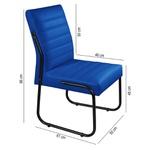 2 Cadeiras Sala de Jantar em Couro Sintético Azul Marinho Pés Preto