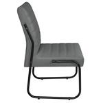 Cadeira Para Escritório ou Sala de Jantar em Couro Sintético Cinza Pés em Aço na Cor Preta