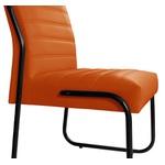 Cadeira Para Escritório ou Sala de Jantar em Couro Sintético Laranja Pés em Aço na Cor Preta