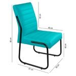 2 Cadeiras Sala de Jantar em Couro Sintético Azul Turquesa Pés Preto
