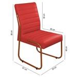 Cadeira de Escritório ou Sala de Jantar em Couro Sintético Vermelho Pés em Aço na Cor Cobre