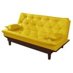 Sofá Cama Caribe Courino Amarelo Reclinável 3 Posições