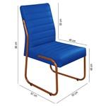 Cadeira de Escritório ou Sala de Jantar em Couro Sintético Azul Marinho Pés em Aço na Cor Cobre