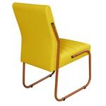 2 Cadeiras Sala de Jantar em Couro Sintético Amarelo Pés Cobre