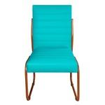 Cadeira de Escritório ou Sala de Jantar em Couro Sintético Azul Turquesa Pés em Aço na Cor Cobre